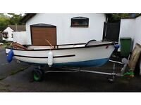 14ft open fibre glass fishing boat plus Trailer with 2 outboard engines/Oars and lifejacket