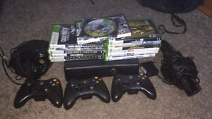 120 gb xbox 360 slim with kinect, headset, and a pile of games