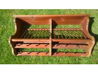 Penny pine wall mounted dish and cup rack in rustic pine