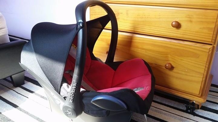 some baby staff maxi.cossi car seat with accessories,toys,scale, plastic desk