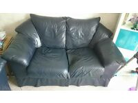 Two dark navy blue leather sofas - free to collector