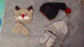 Baby boy 6-12 winter hats H&M and George
