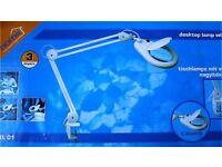 Desktop lamp with magnifier