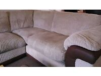 CORNER SOFA FOR SALE VGC BEIGE/BROWN SIZE MEASURED AT THE BACK 3m x 2.15m ( 10ft x 7ft )