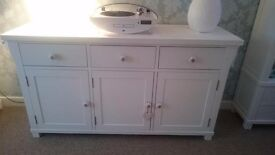 lovely hampton pure white solid ash 3 door 3 drawer sideboard/unit