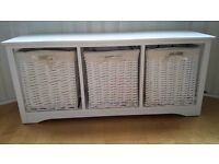 White Shabby Chic 3 Drawer Wicker Storage Unit Drawers Bench & 2 x Bedside Units - pick up Partick