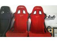 Cobra Monaco Red Bucket Seats MX5 Rails