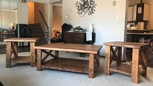 Hand made coffee table and end tables