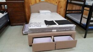 Brand new queen size platform bed frame with 4 drawers. TAXES IN
