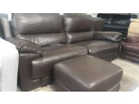 DFS 3 seater and matching footstool electric recliner with USB ports