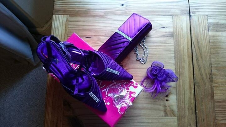 Shoes with Matching BagFascinator/Broochin Brixham, DevonGumtree - Shoes with Matching Bag & Fascinator/Brooch Shoe Size 5, Purple Satin with Diamante detail. Bag Clutch style with inside pocket and detachable chain link shoulder strap, Purple Satin with Diamante detail. Fascinator Cadbury purple feather and mesh...