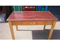 20 draw solid wood unit with 2 solid wood tables