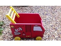 Lovely I'm Toy Fire Engine toy box / book box / walker cost £45 good quality