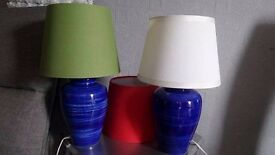 Table Lamps x 2 and 3 lamp shades.