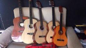 6 Guitars and Ukuleles incl. Eko Eleca Jose Ferrer different sizes