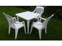 Plastic Garden Table & 4 Chairs