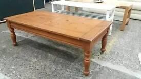 Dark pine wood coffee table