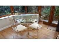 Glass and Iron Dining Table 4 Chairs Upcycle Project, Unfinished Shabby chic Projects going Cheap