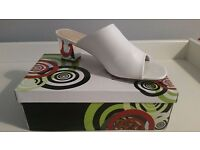 Brand new white mule shoes