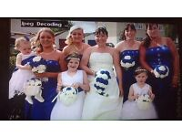 4 beautiful royal blue berdesmaid dresses 3 size and 1size 16-18 worn ones £30 each