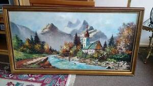 Stunning River & Mountains Genuine Framed Painting Carnegie Glen Eira Area Preview