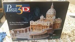 3D Puzzles (Eiffel Tower and Vatican St. Pierre) Used
