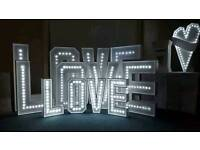 Essex Light up 4 ft Love Sign and Sweet Cart Hire Lovely Wedding Decorations