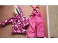 Girls ski jacket and salopettes