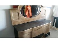 antique sideboard and matching mirror