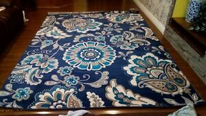 Violet Blue Floral Hand-Tufted Area Rug