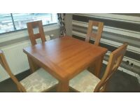 Rustic Solid Oak Extending Dining table and 4 chairs