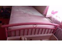 Single Pink metal heart bed