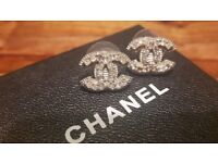 AUTHENTIC CHANEL CC Logo Earrings Crystal Silver Classic Mini