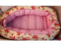 Chicco next to me princess baby pink crib and shabby chic floral baby nest pod.