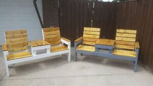 rustic outdoor benches with table
