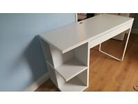 Ikea White Desk with drawer and shelves