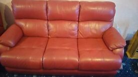 Dfs red leather sofa - 3 seater - 1 electric + 1 normal recliners