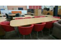 Large boardroom table with 10 leather tub chairs in good condition