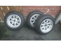 ford fitment 4/108 minilites 4 stud 4 brand new tyres