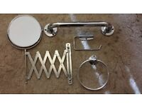 Bathroom vanity set silver chrome good condition Mirror toilet roll holder towel rail
