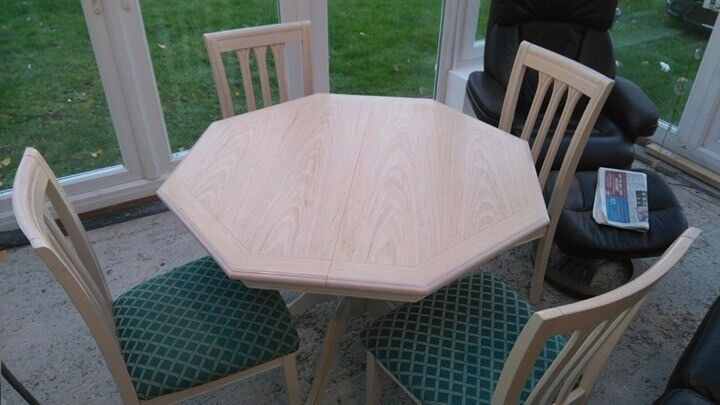 Cream Extending Dining Table and Four Chairs