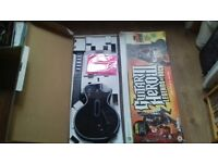 Xbox 360 95123.805 Guitar Hero BLACK Gibson Les Paul Wireless Controller + strap and box
