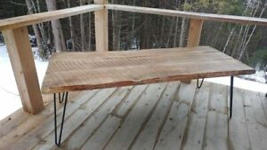 Hand crafted live edge oak coffee table with hairpin legs