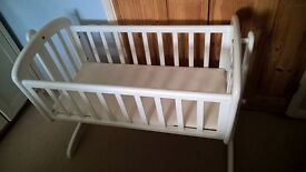 White wooden babys crib - In a good used condition.