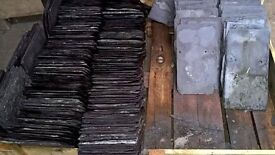 """Large number of 14"""" x 9"""" and 16"""" x 10"""" reclaimed roof slates."""