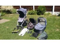 Uppababy vista travel system blue, incl car seat, buggy board