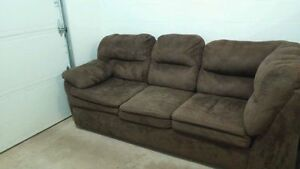 Dark chocolate brown microfiber lounging couch from Leon's