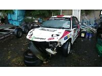 Damaged Mitsubishi Lancer Evo 1 RS rally car (also a spare GSR shell and engine available)