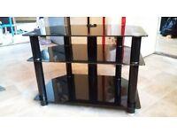 £15 Black glass TV stand/unit