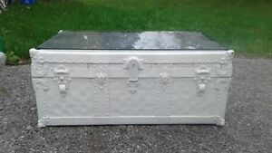 Vintage trunk converted into a coffee table
